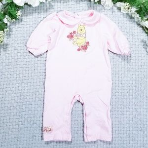 Disney Classic Pooh baby girl pink floral romper